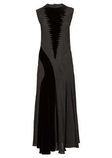 Loewe Velvet-panelled crepe maxi dress