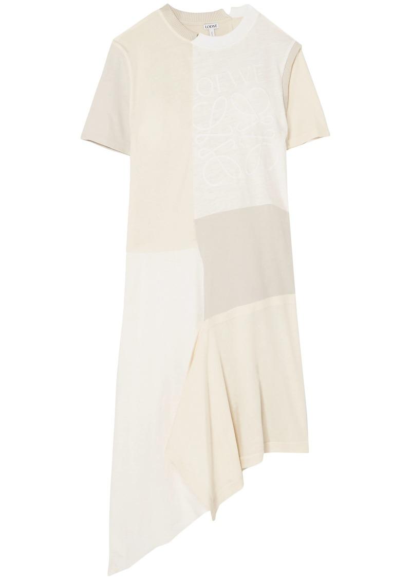 Loewe Woman Asymmetric Patchwork Slub Cotton-jersey Dress Off-white