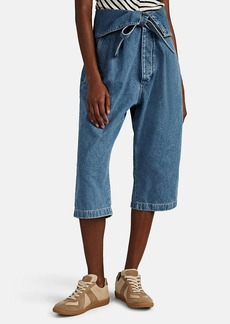 LOEWE Women's Oversized Belted Pleated Crop Jeans