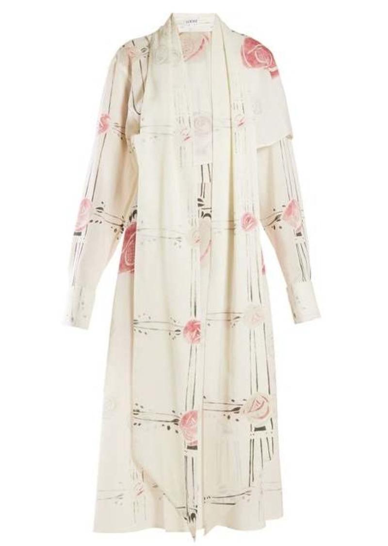 Loewe X Charles Rennie Mackintosh rose-print wool dress