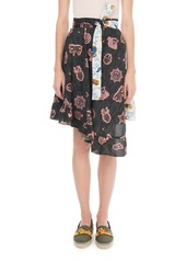 Loewe x Paula's Ibiza Asymmetric Printed Chiffon Wrap Skirt