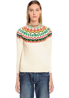 Loewe Logo Cotton Blend Intarsia Sweater