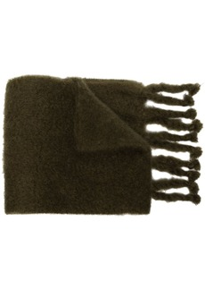 Loewe logo patch textured knit scarf