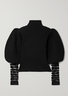 Loewe Mesh-trimmed Wool And Alpaca-blend Turtleneck Sweater