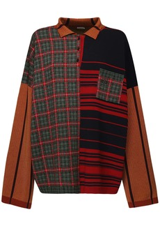 Loewe Oversize Patchwork Knit Polo Sweater