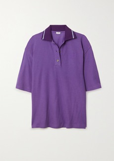 Loewe Oversized Embroidered Cotton And Cashmere-blend Pique Polo Shirt