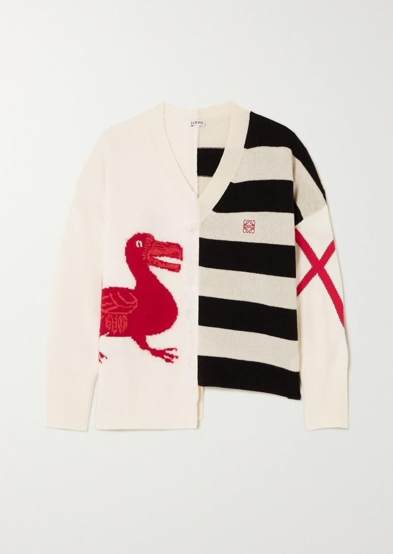 Loewe Oversized Frayed Asymmetric Intarsia Wool-blend Sweater