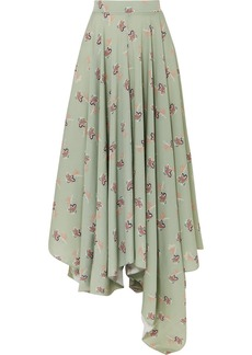 Loewe Paula's Ibiza Asymmetric Floral-print Crepe De Chine Maxi Skirt