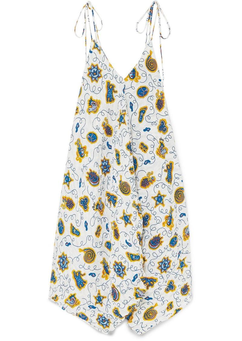 Loewe Paula's Ibiza Asymmetric Printed Crepon Dress