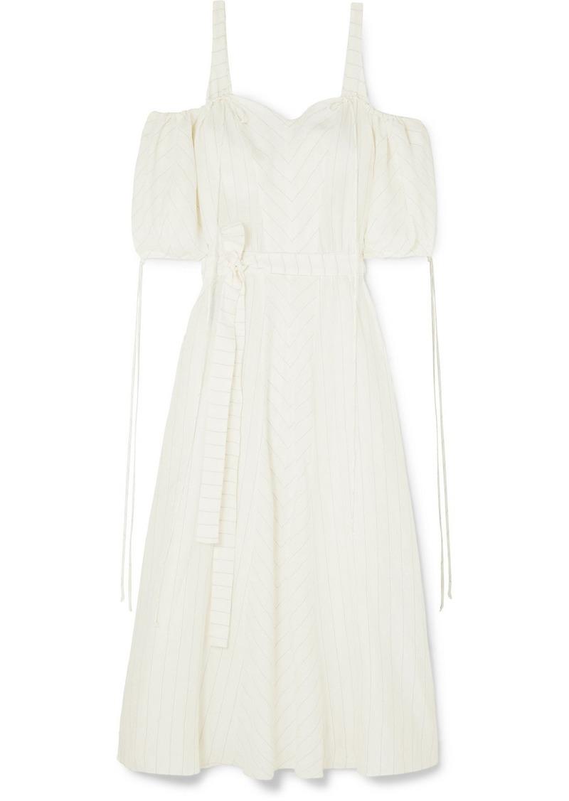 Loewe Paula's Ibiza Cold-shoulder Striped Linen-blend Gown