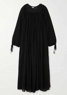 Loewe Paulas Ibiza Cotton And Silk-blend Crepon Maxi Dress