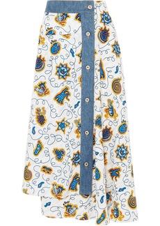 Loewe Paula's Ibiza Denim-trimmed Printed Crepe De Chine Midi Skirt