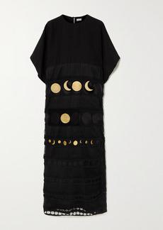 Loewe Paulas Ibiza Embellished Crocheted Cotton And Poplin Dress