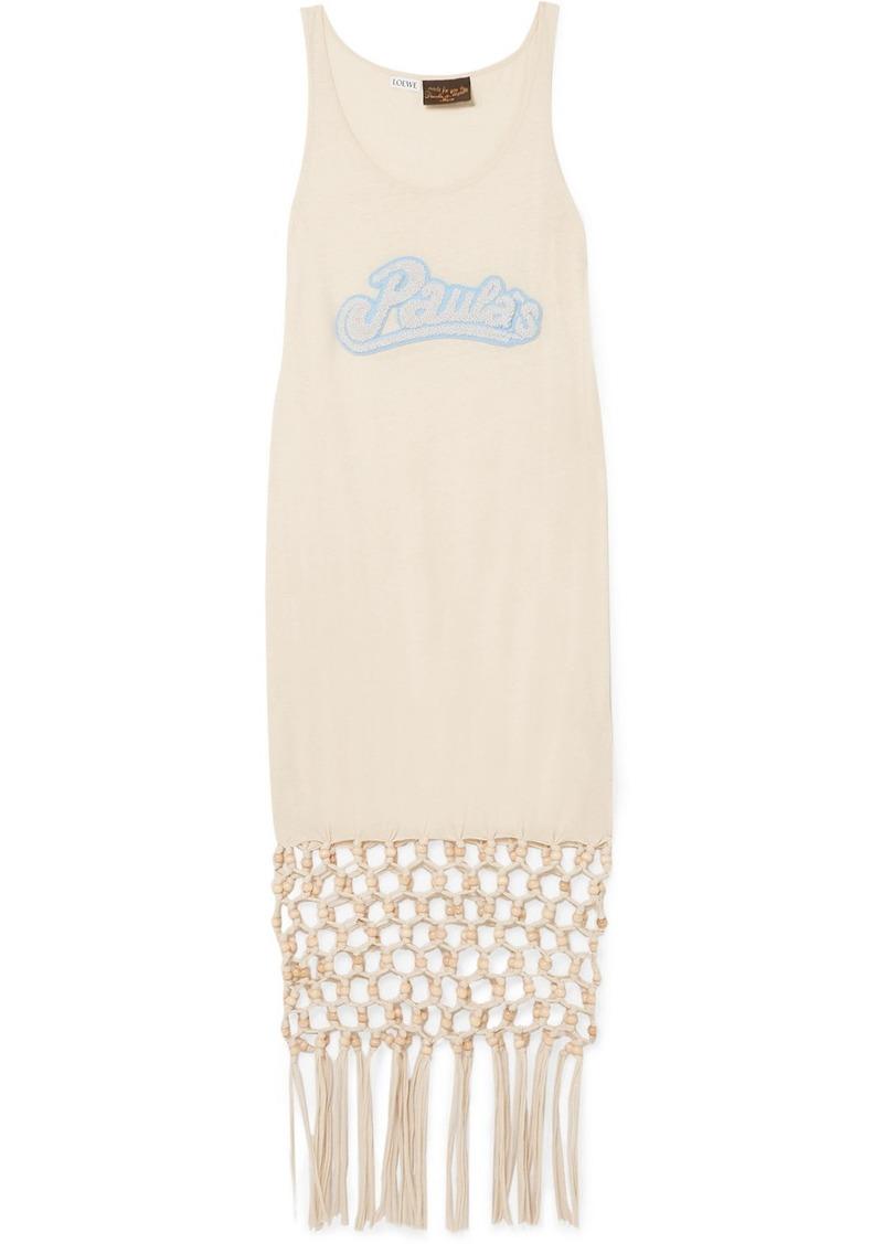 Loewe Paula's Ibiza Embellished Macramé-trimmed Silk And Cotton-blend Jersey Dress