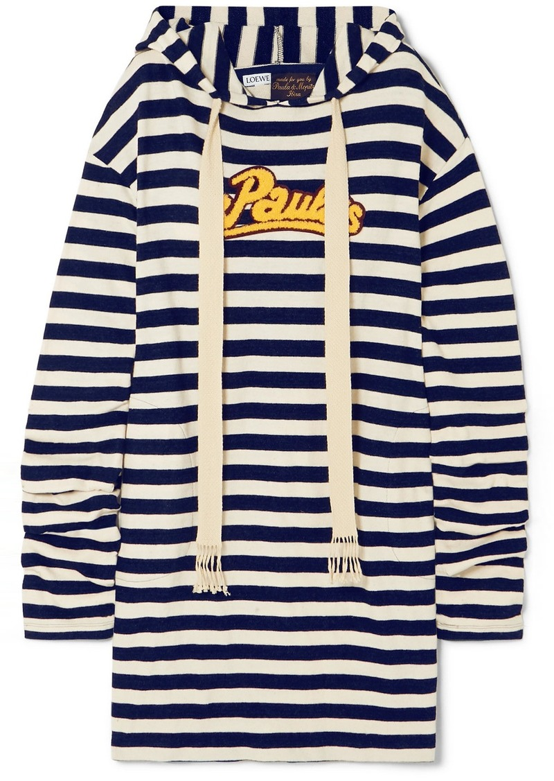 Loewe Paula's Ibiza Hooded Appliquéd Striped Jersey Dress