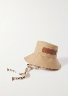 Loewe Paulas Ibiza Leather-trimmed Cotton-canvas Bucket Hat