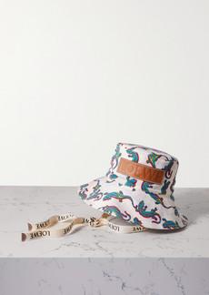Loewe Paulas Ibiza Leather-trimmed Printed Cotton-twill Bucket Hat