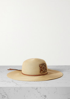 Loewe Paulas Ibiza Leather-trimmed Straw Hat