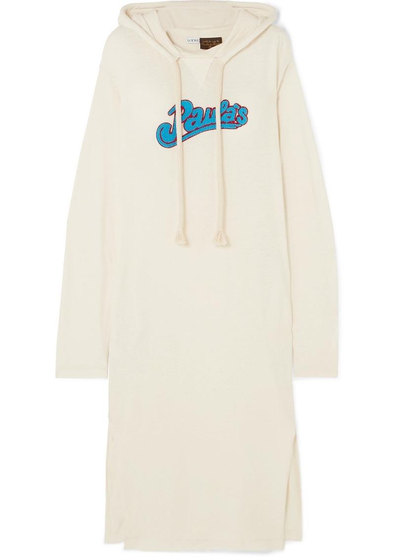 Loewe Paula's Ibiza Logo-appliquéd Slub Wool-blend Jersey Maxi Dress