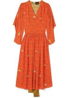 Loewe Paula's Ibiza Paneled Printed Crepe De Chine Dress