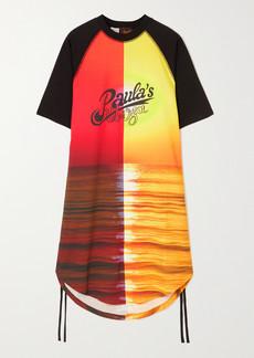Loewe Paulas Ibiza Sunset Ruched Printed Cotton-jersey Dress