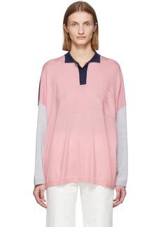 Loewe Pink & Navy Wool Oversized Long Sleeve Polo