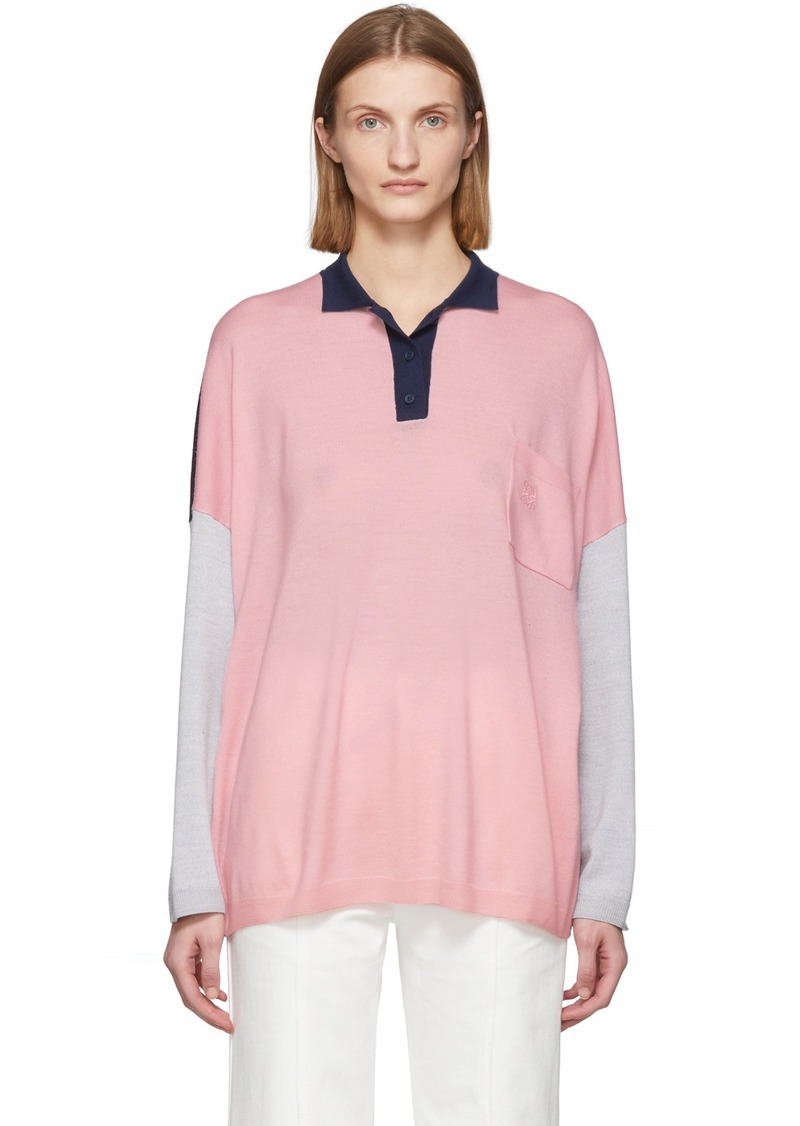 Loewe Pink & Navy Wool Oversized Long Sleeve Polo