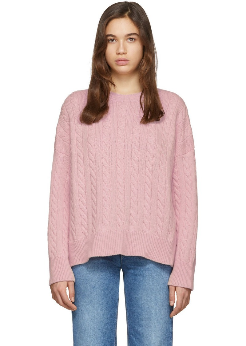 Loewe Pink Cable Crewneck Sweater