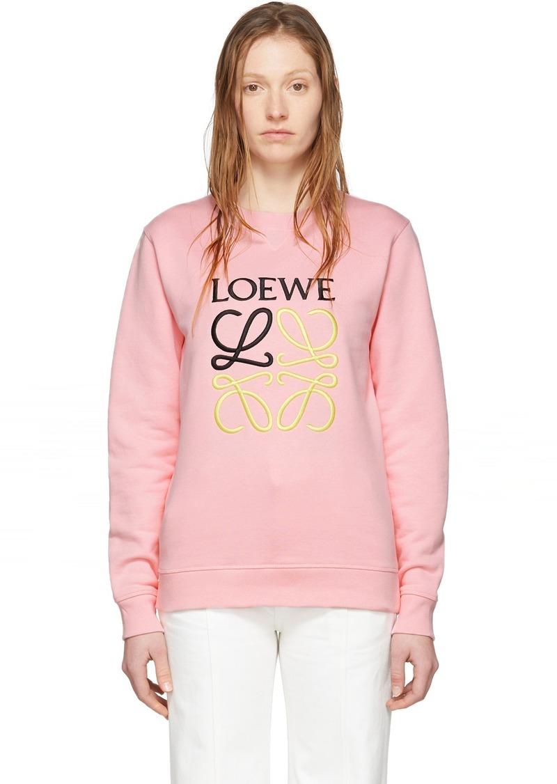 Loewe Pink Embroidered Anagram Sweatshirt