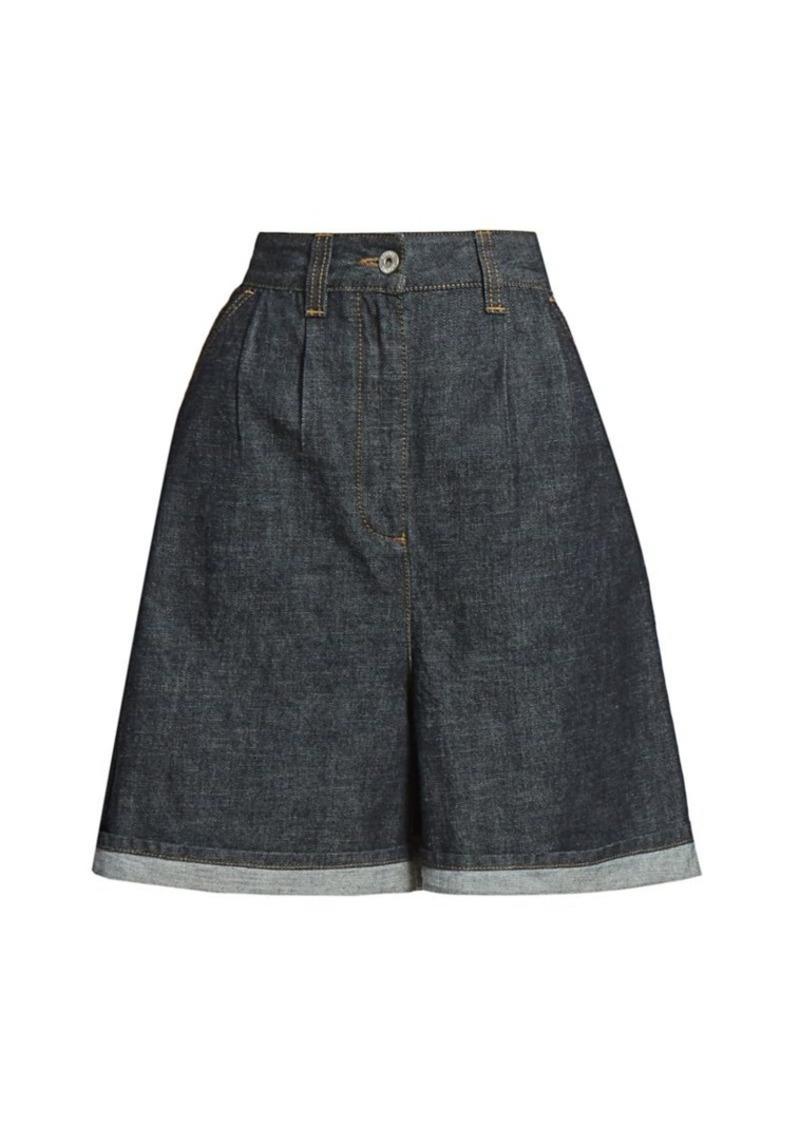 Loewe Pleated A-Line Denim Shorts