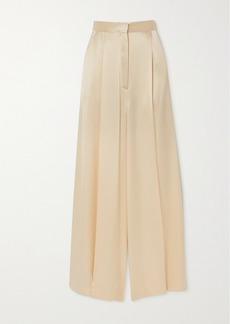 Loewe Pleated Hammered-satin Wide-leg Pants
