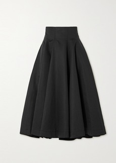 Loewe Pleated Linen And Cotton-blend Midi Skirt