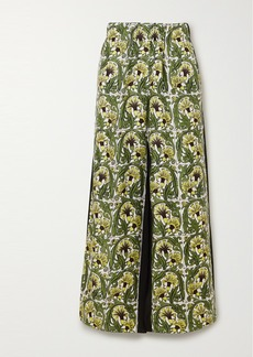Loewe Printed Silk-twill And Crepe Wide-leg Pants