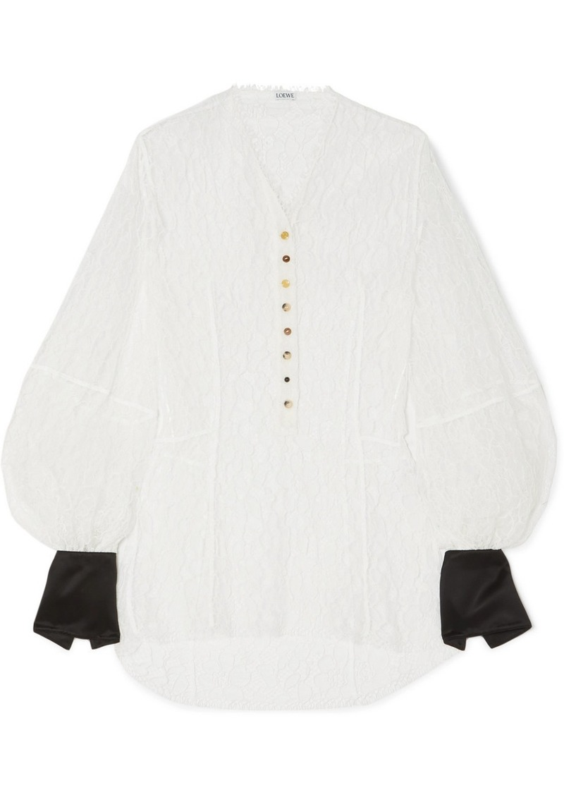 Loewe Satin-trimmed Corded Lace Blouse