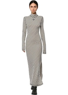 Loewe Striped Cotton Jersey Flared Dress