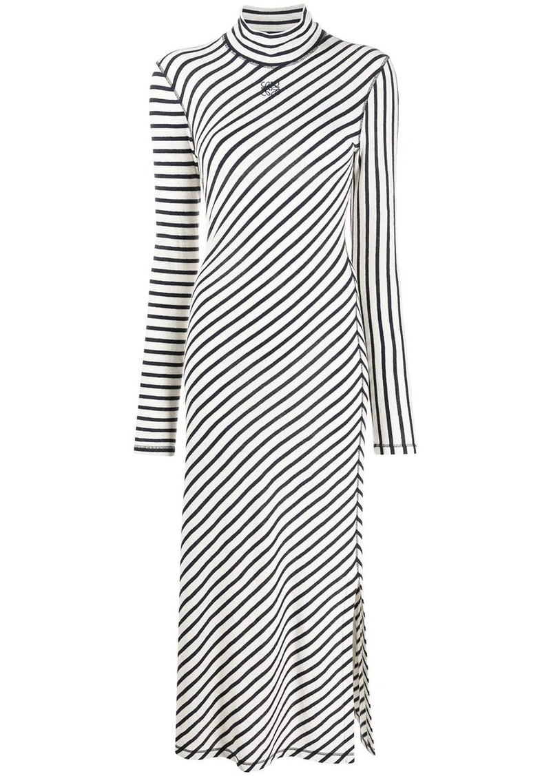 Loewe striped logo-embroidered midi dress