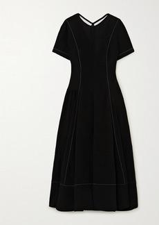 Loewe Tie-detailed Topstitched Crepe Midi Dress
