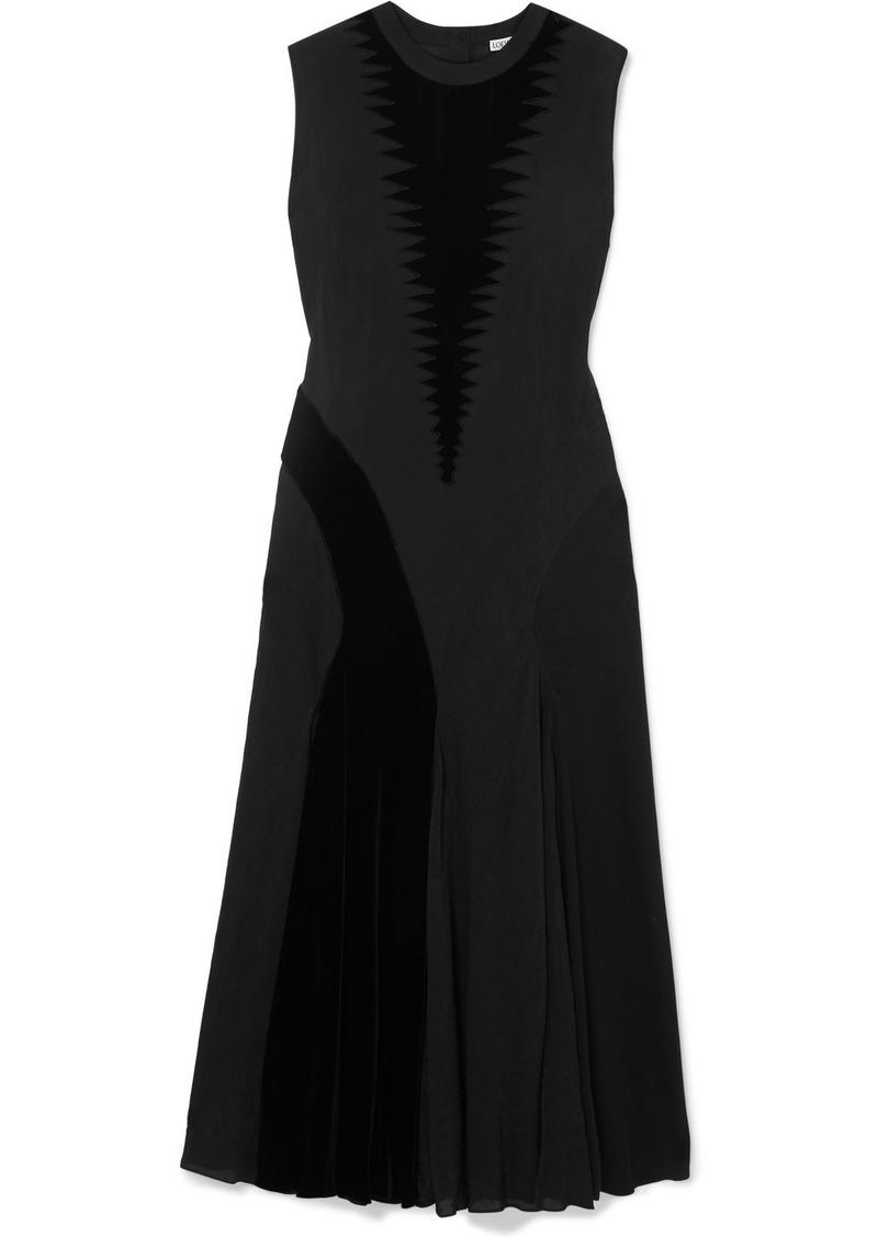 Loewe Velvet-trimmed Silk And Cotton-blend Dress