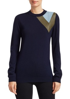 Loewe Wool & Leather Colorblock Sweater