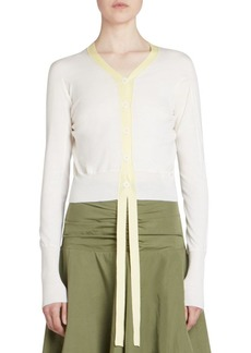 Loewe Wool Leather Trimmed Cropped Cardigan