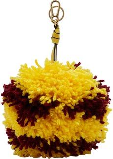 Loewe Yellow & Burgundy Big Pom Pom Keychain