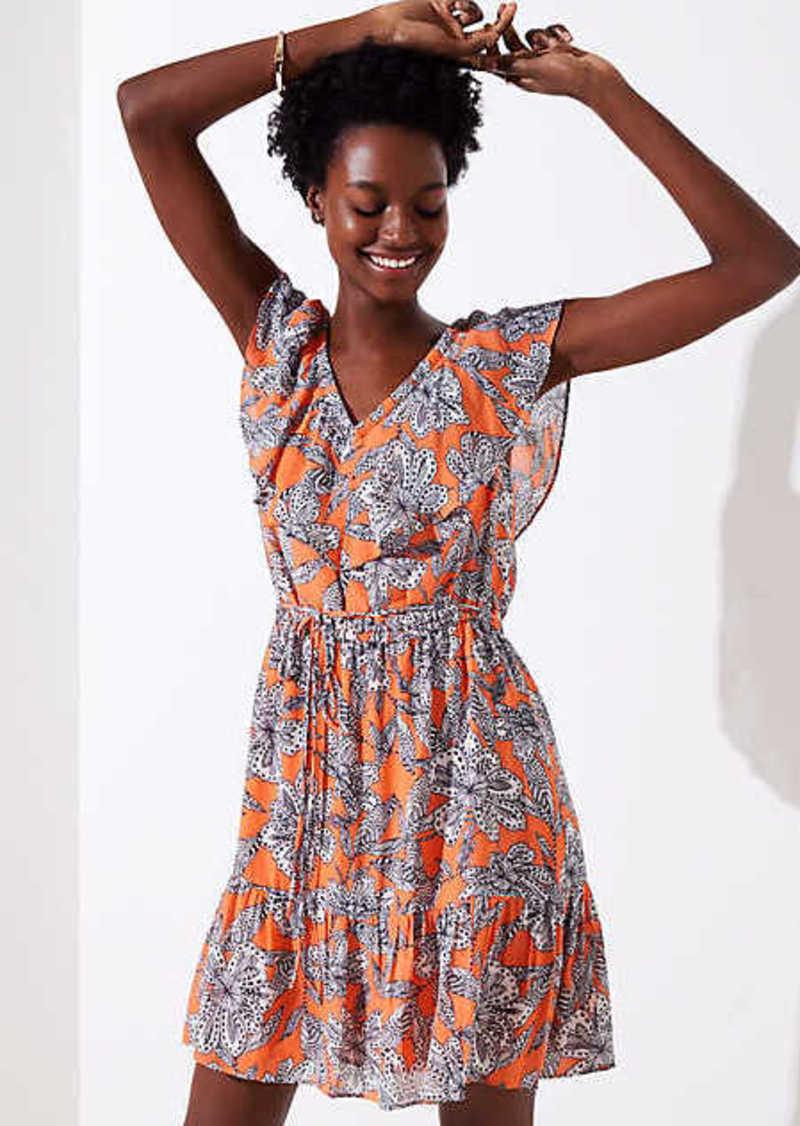 LOFT Abstract Floral Flounce Dress