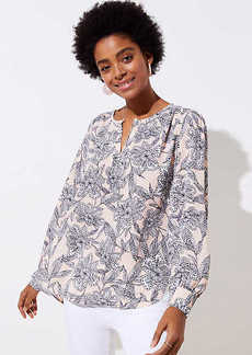 Abstract Floral Keyhole Blouse