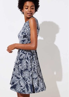 Abstract Floral Wrap Back Flare Dress