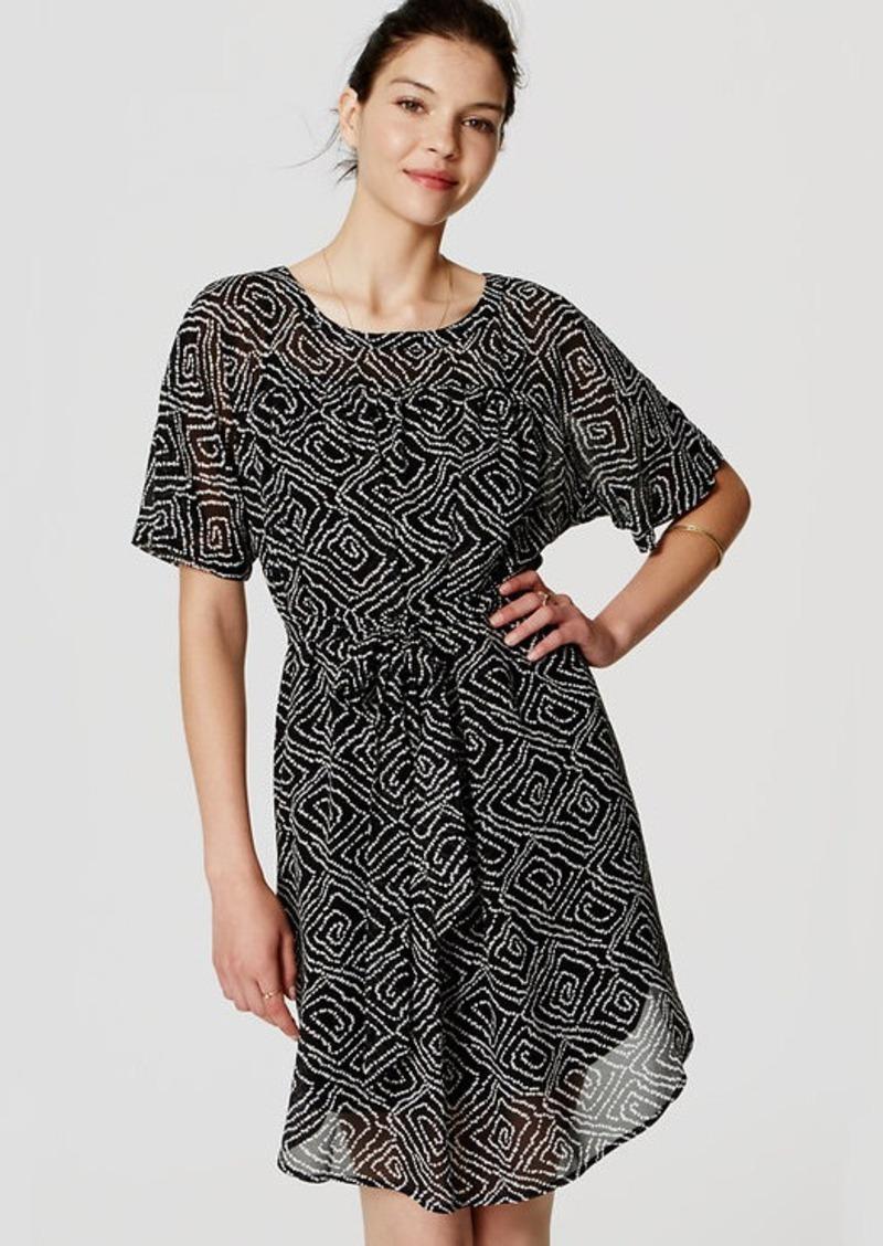LOFT Abstract Tie Waist Dress