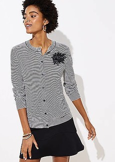 LOFT Applique Striped Signature Cardigan