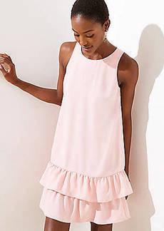 LOFT Back Cutout Ruffle Hem Dress