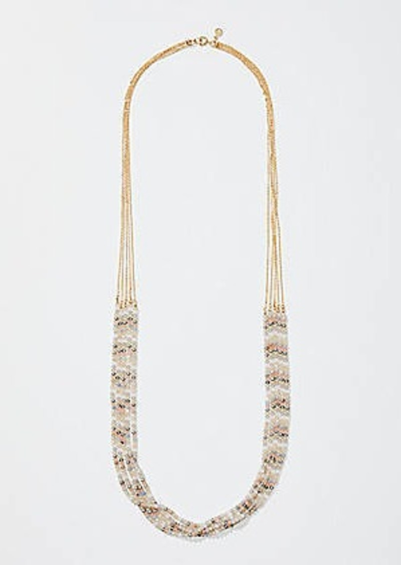 LOFT Beaded Chain Multistrand Necklace