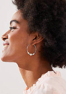 LOFT Beaded Hoop Earrings