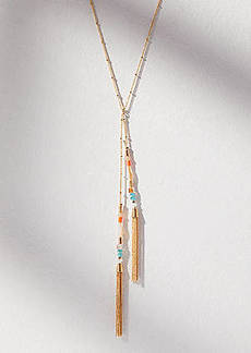 LOFT Beaded Tassel Lariat Necklace